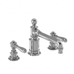 Burlington Arcade Three hole basin mixer deck-mounted without pop up waste - chrome - with brass lever