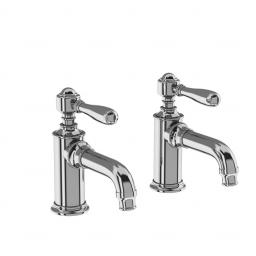 Burlington Arcade Basin pillar taps - chrome - with brass lever