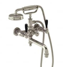 Burlington Arcade Bath shower mixer wall-mounted - nickel with black lever