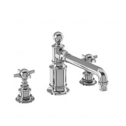 Burlington Arcade Three hole basin mixer deck-mounted without pop up waste - chrome - with tap handle