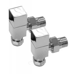 Chrome 15mm Square Angled Radiator Valves