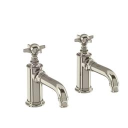 Burlington Arcade Basin pillar taps - nickel - with tap handle
