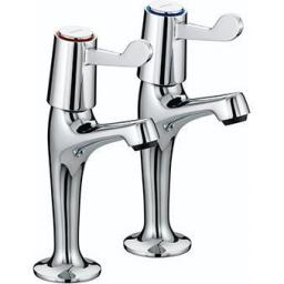 "Bristan Lever High Neck Pillar Taps With 3"" Levers"