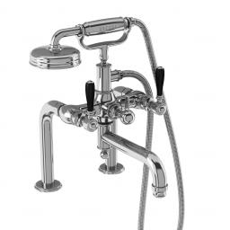 Burlington Arcade Bath shower mixer deck-mounted - chrome with black lever