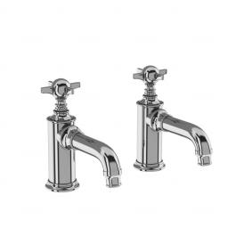 Burlington Arcade Basin pillar taps - chrome - with tap handle