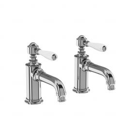 Burlington Arcade Basin pillar taps - chrome - with ceramic lever