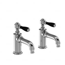 Burlington Arcade Basin pillar taps - chrome - with black lever