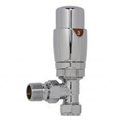 Chrome 15mm Thermostatic Angled Radiator Valves