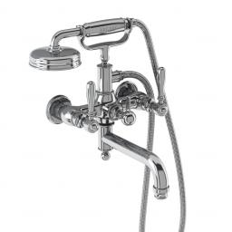 Burlington Arcade Bath shower mixer wall-mounted - chrome with brass lever
