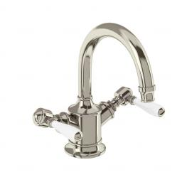 Burlington Arcade Dual-lever basin mixer without pop up waste - nickel - with ceramic lever