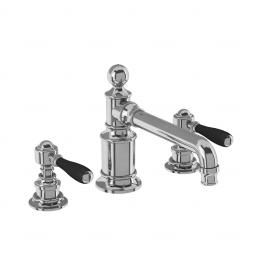 Burlington Arcade Three hole basin mixer deck-mounted without pop up waste - chrome - with black lever