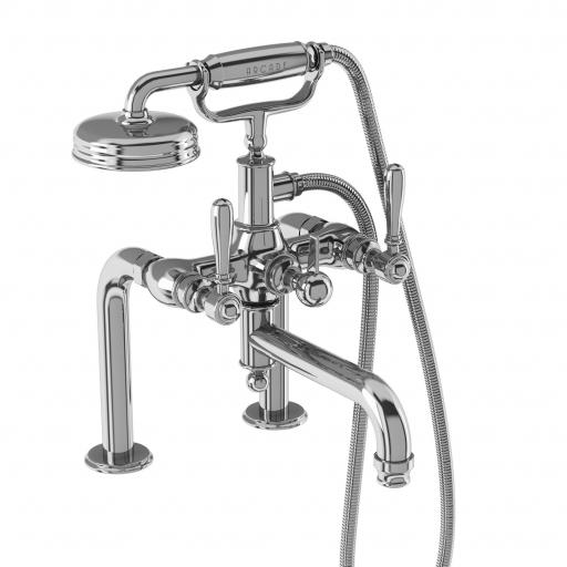 Burlington Arcade Bath shower mixer deck-mounted - chrome with brass lever
