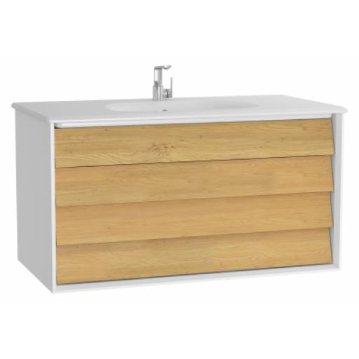 Vitra Frame Washbasin Unit, with 2 drawers, 100 cm, with white washbasin, Matte White