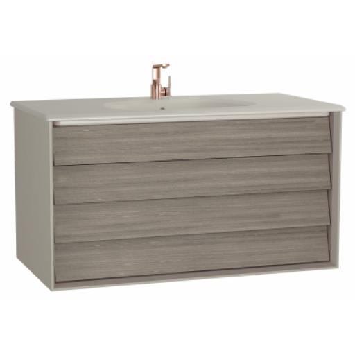 Vitra Frame Washbasin Unit, with 2 drawers, 100 cm, with taupe washbasin, Matte Taupe