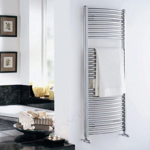 Curved Chrome Towel Radiator 1110x500mm