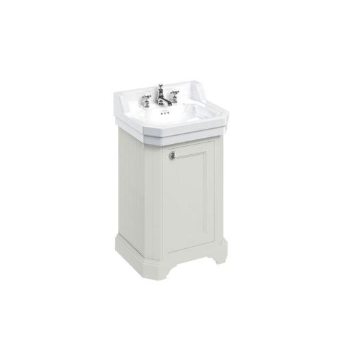 Burlington Edwardian 560mm basin and free-standing rectangular cloakroom vanity unit - Sand