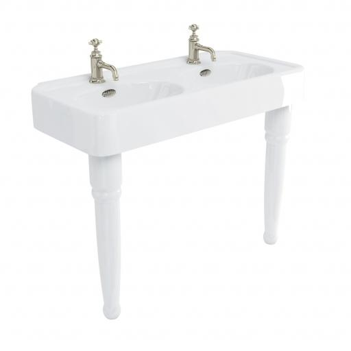 Burlington Arcade 1200mm basin with nickel overflow & ceramic console legs