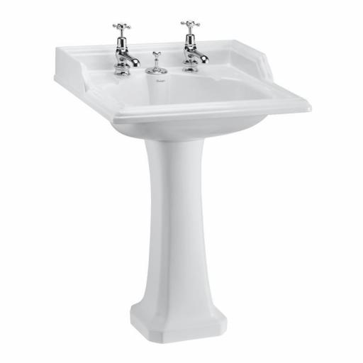 Burlington Classic 65cm basin with invisible overflow and Classic standard pedestal