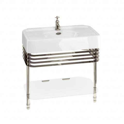 Burlington Arcade 900mm basin with nickel overflow & basin stand