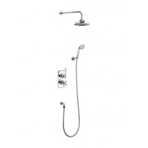 Burlington Trent Thermostatic Two Outlet Concealed Divertor Shower Valve , Fixed Shower Arm, Handset & Holder with Hose with 12 inch rose