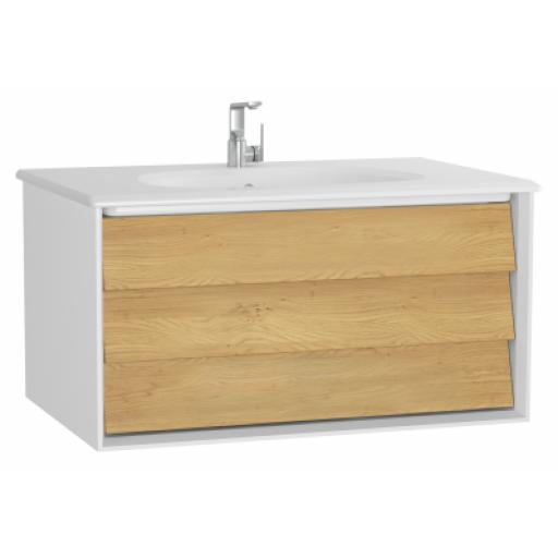 Vitra Frame Washbasin Unit, with 1 drawer, 80 cm, with white washbasin, Matte White