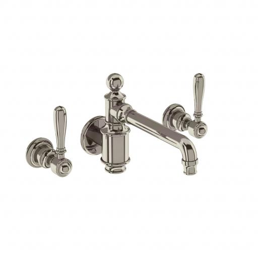 Burlington Arcade Three hole basin mixer wall-mounted without pop up waste - nickel - with brass lever