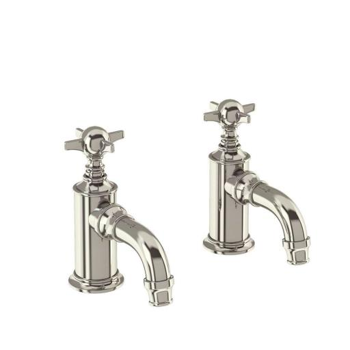 Burlington Arcade Cloakroom basin pillar taps - nickel - with tap handle