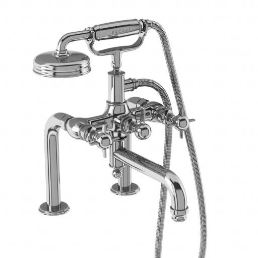 Burlington Arcade Bath shower mixer deck-mounted - chrome with handle