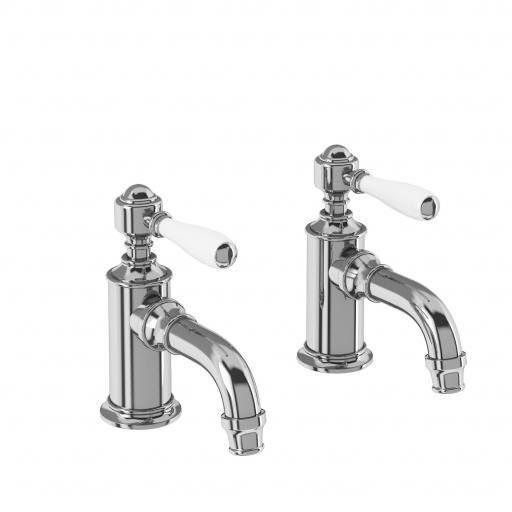 Burlington Arcade Cloakroom basin pillar taps - chrome - with ceramic lever
