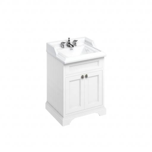 Burlington Freestanding 65 Vanity Unit with doors - Matt White and Classic basin 3 tap holes