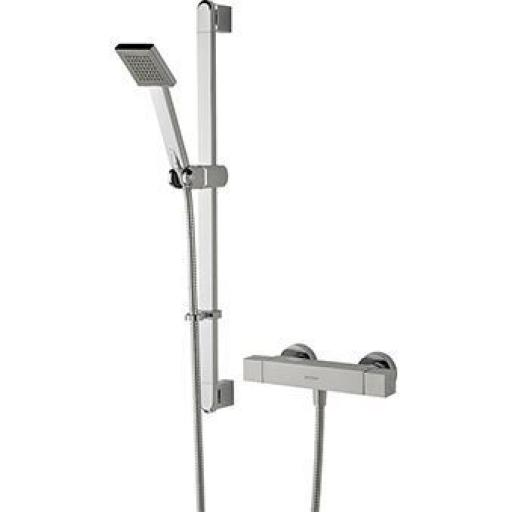 Bristan Quadrato Thermostatic Exposed Bar Shower With Riser Kit, Single Function Handset And Fast Fit Connections