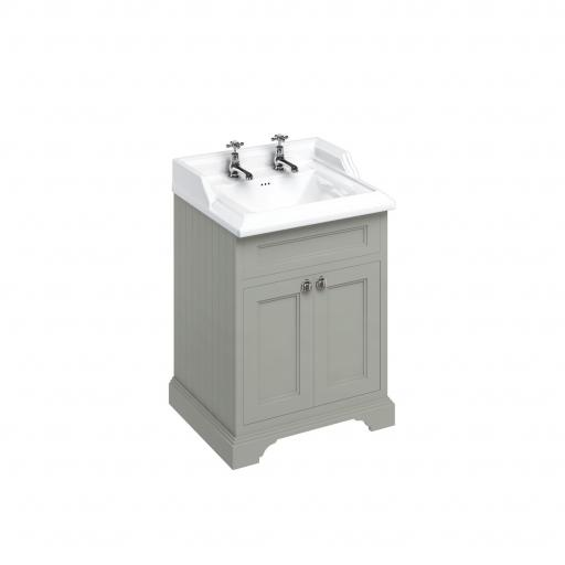 Burlington Freestanding 65 Vanity Unit with doors - Dark Olive and Classic basin 2 tap holes