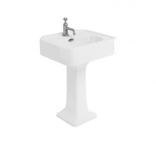 Burlington Arcade 600mm basin with chrome overflow & pedestal