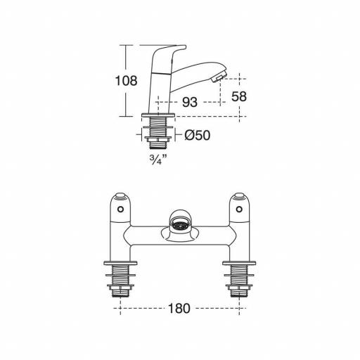 Ideal Standard Opus 2 Hole Dual Control Bath Filler