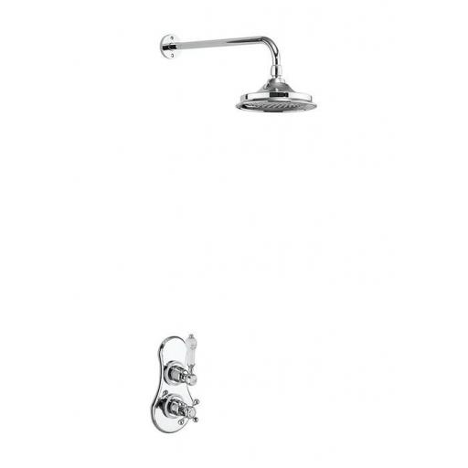 Burlington Severn Thermostatic Single Outlet Concealed Shower Valve with Fixed Shower Arm with 9 inch rose