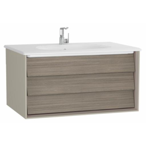 Vitra Frame Washbasin Unit, with 1 drawer, 80 cm, with taupe washbasin, Matte Taupe