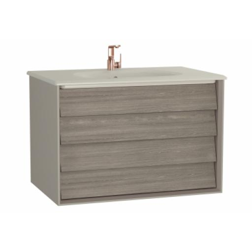 Vitra Frame Washbasin Unit, with 2 drawers, 80 cm, with taupe washbasin, Matte Taupe