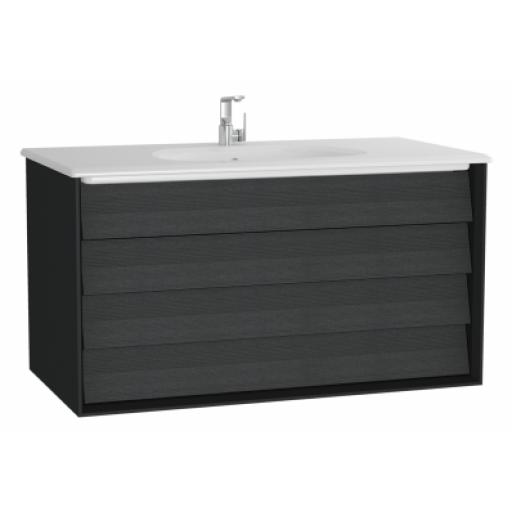 Vitra Frame Washbasin Unit, with 2 drawers, 100 cm, with white washbasin, Matte Black