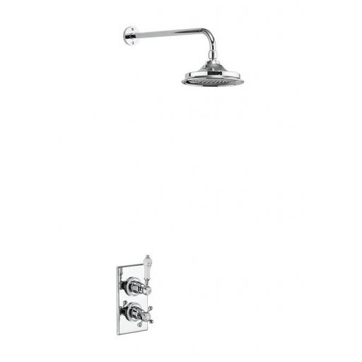 Burlington Trent Thermostatic Single Outlet Concealed Shower Valve with Fixed Shower Arm with 6 inch rose
