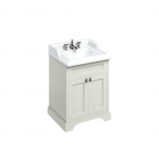 Burlington Freestanding 65 Vanity Unit with doors - Sand and Classic basin 3 tap holes
