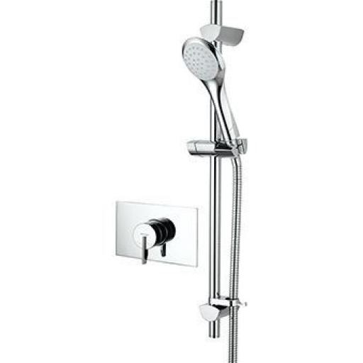 Bristan Smile Thermostatic Recessed Dual Control Mini Valve Shower With Adjustable Riser Kit And Single Function Handset