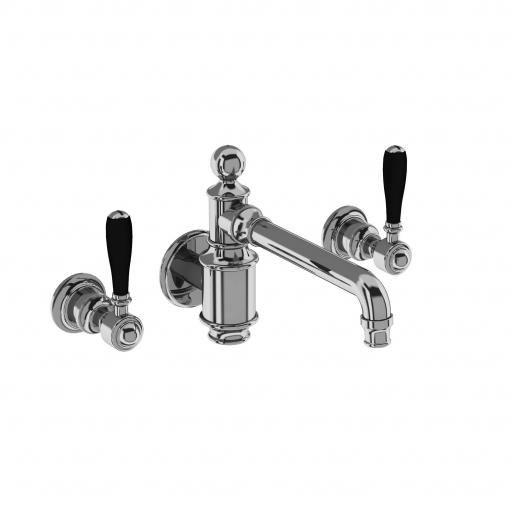 Burlington Arcade Three hole basin mixer wall-mounted without pop up waste - chrome - with black lever
