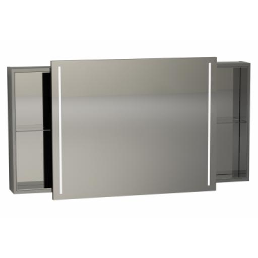 Vitra Memoria Illuminated Mirror Cabinet, with Sliding Door, 120 cm, Grey High Gloss