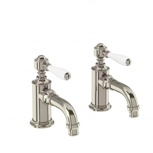 Burlington Arcade Cloakroom basin pillar taps - nickel - with ceramic lever