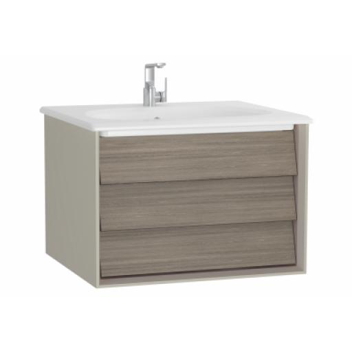Vitra Frame Washbasin Unit, with 1 drawer, 60 cm, with white washbasin, Matte Taupe