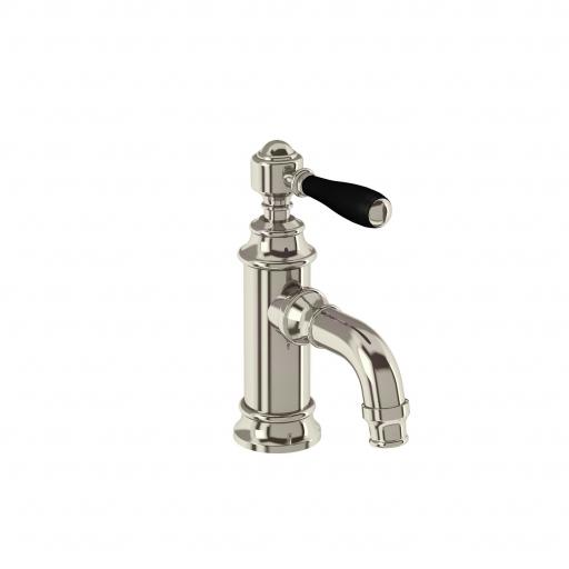 Burlington Arcade Mini single-lever basin mixer without pop up waste - nickel - with black lever