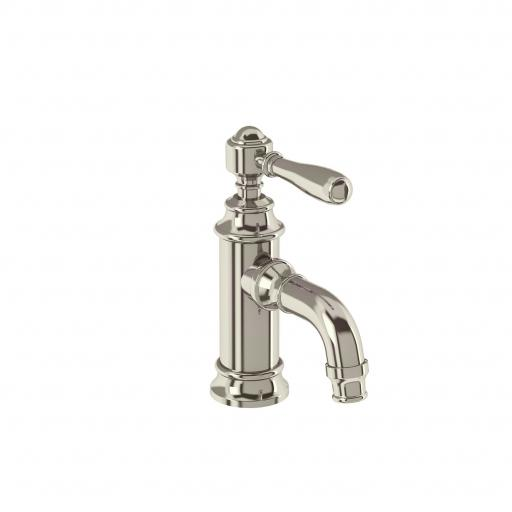 Burlington Arcade Mini single-lever basin mixer without pop up waste - nickel - with brass lever