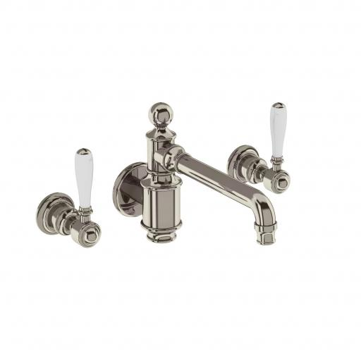 Burlington Arcade Three hole basin mixer wall-mounted without pop up waste - nickel - with ceramic lever
