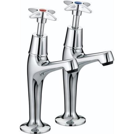 Bristan X-Head High Neck Pillar Taps