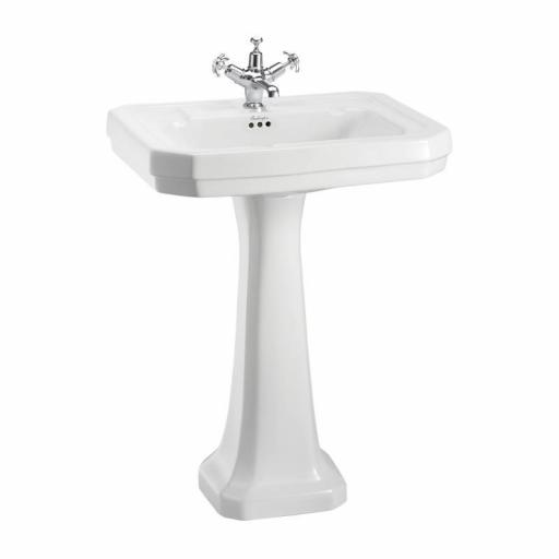 Burlington Victorian 61cm basin and standard pedestal (1TH)